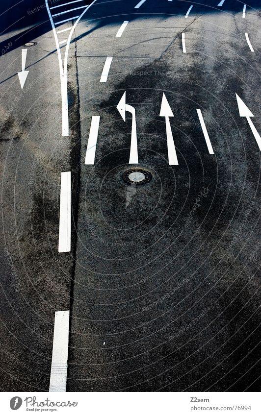 One against all White Tar Asphalt Black Dark Transport Road traffic Urban traffic regulations Rule Traffic regulation Tracks Traffic lane Arrow Line Contrast