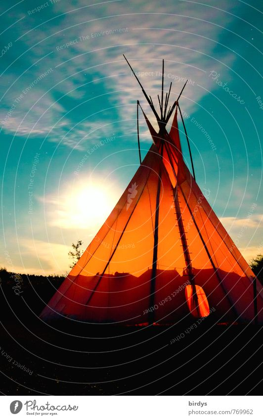 Indian Time Adventure Summer Nature Sky Clouds Full  moon Beautiful weather Tee Pee Tent Illuminate Esthetic Exceptional Exotic Free Positive Warmth Wild Orange