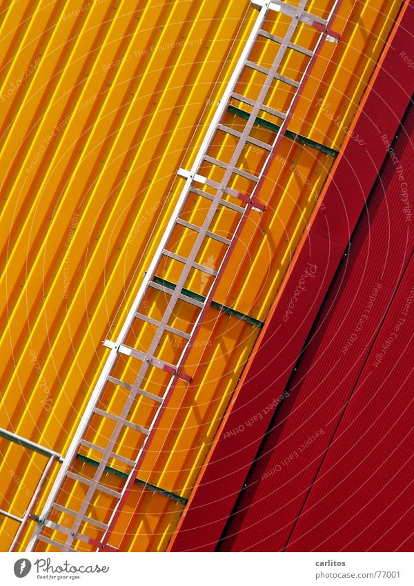 Red Yellow Colour Crazy Facade Industrial Photography Mask Ladder Warehouse Diagonal Tin Storage Fire ladder