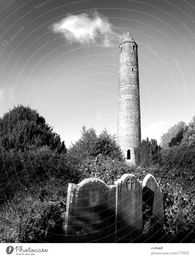 Glendalough - Ireland Clouds Black & white photo Tower cemetery Landscape Monastery
