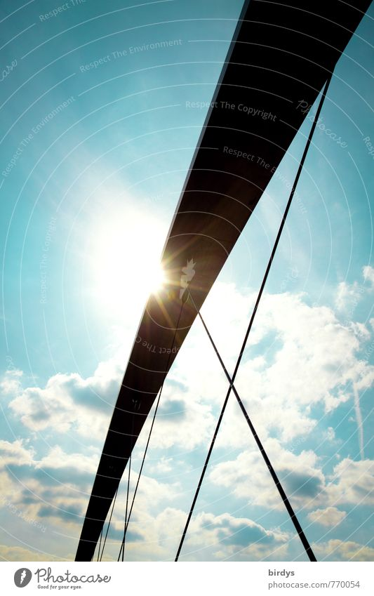 arch Sky Clouds Sun Sunlight Beautiful weather Bridge Suspension bridge Glittering Illuminate Esthetic Elegant Advancement Perspective Line Colour photo