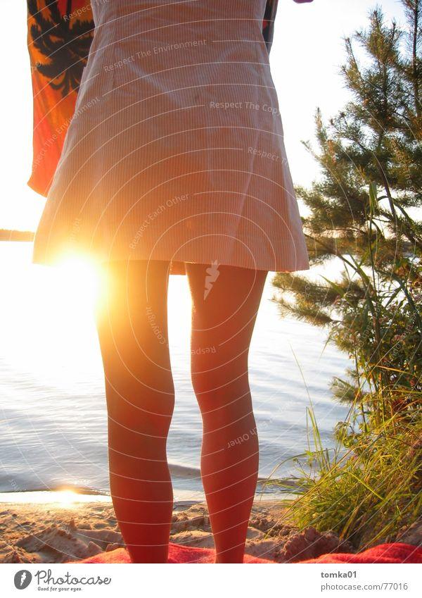 Woman Water Sun Vacation & Travel Summer Beach Graffiti Naked Warmth Legs Lake Skin Perspective Dress Physics Hind quarters