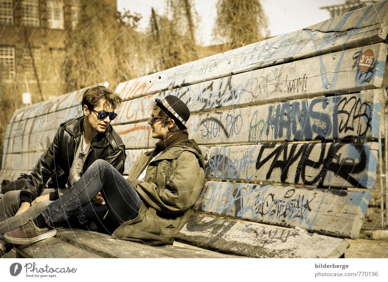 Joy Graffiti Berlin Happy Freedom Fashion Couple Together Masculine Lifestyle Leisure and hobbies Power Photography Eyeglasses Cool (slang) Change