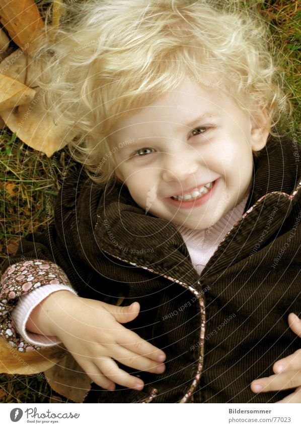 Child Girl Face Leaf Autumn Laughter Blonde To fall Grinning Curl