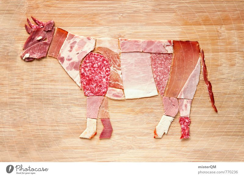 Sausage lover. Rudi beef. Art Esthetic Sausages production Collage Work of art Ecological Organic produce Cattle Beef Cattle farming Filet mignon Joint of beef