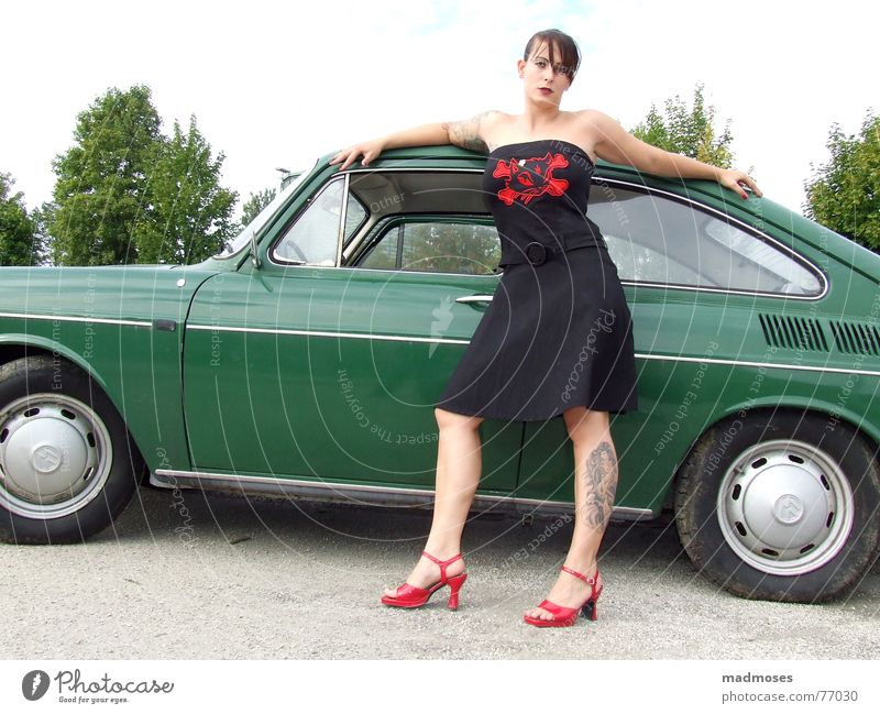 Sexy Lady Green Easygoing Red High heels Car tattoo tattooed Legs shoes red shoes Landing