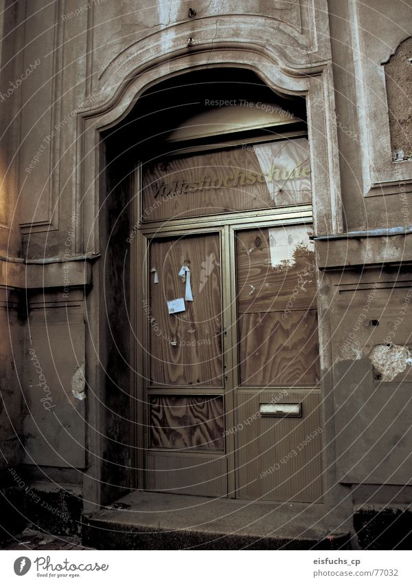 Old Loneliness Gray School Together Door School building Empty Might Education Entrance Know Former Late Forget Stagnating