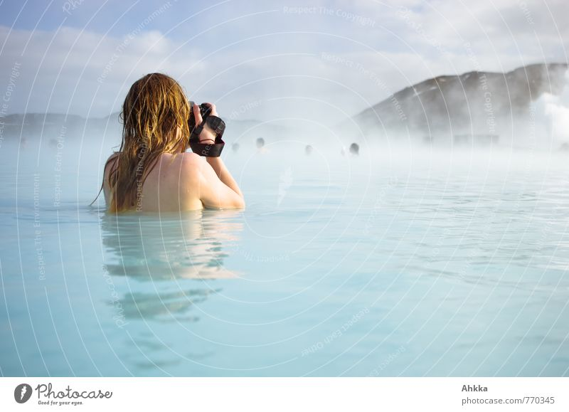 Human being Vacation & Travel Youth (Young adults) Blue Beautiful Summer Young woman Relaxation Ocean Feminine Swimming & Bathing Fog Idyll Body Trip