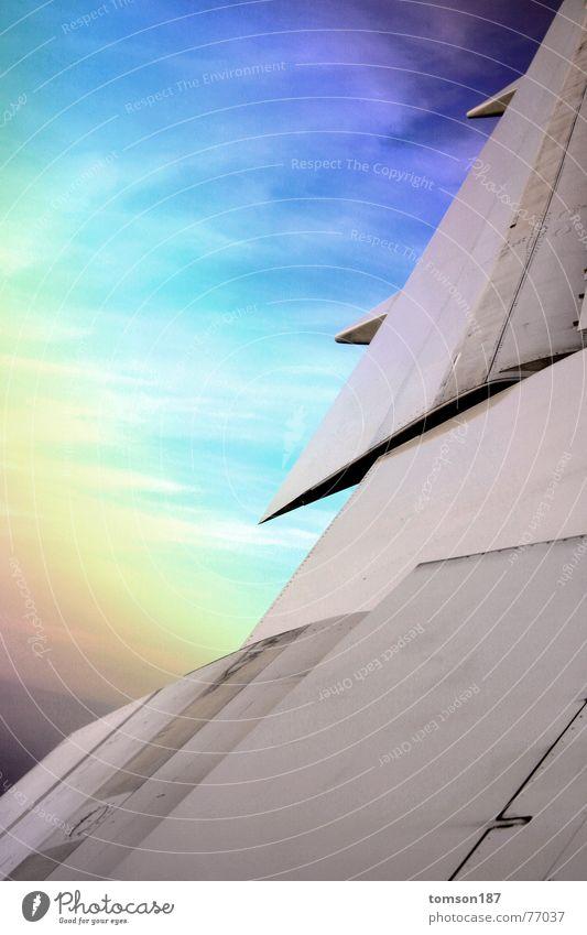 rainbow airways Geometry Airplane Rainbow Altitude flight Vacation & Travel Aviation Sky Colour Level high Wing