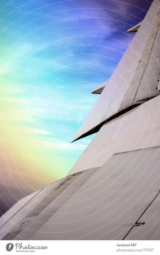 Sky Vacation & Travel Colour Air Airplane Aviation Level Wing Geometry Rainbow Altitude flight