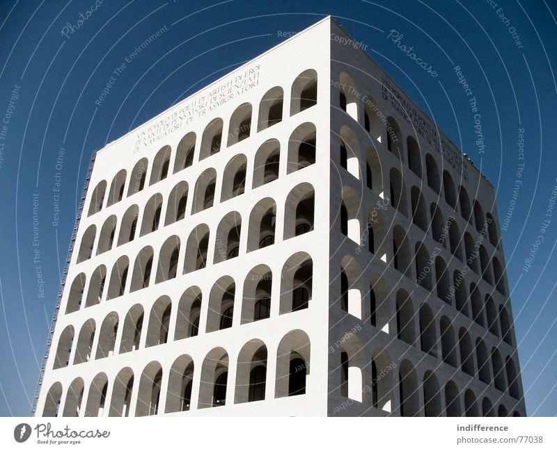 Palazzo della Civiltà Italiana *one* Rome Italy Monument building palace arcs marble historical Euro neoclassical architecture