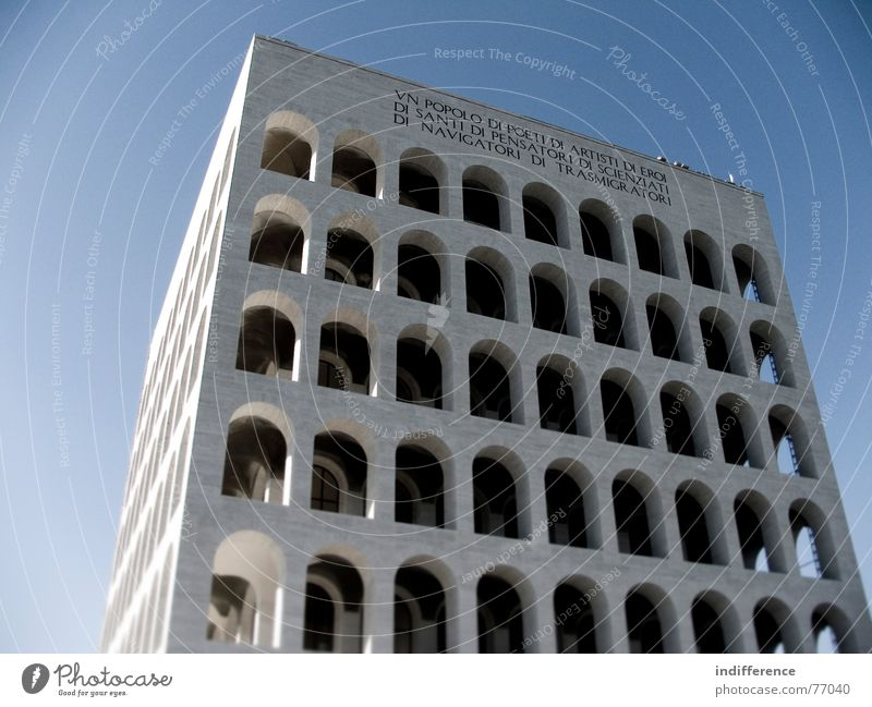 Palazzo della Civiltà Italiana *three* Rome Italy Monument building palace arcs marble historical Euro neoclassical architecture