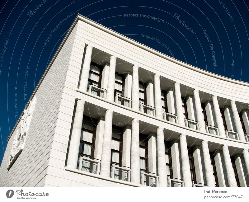 Eur Detail Rome Italy Travertine Euro marble columns arcs white Monument historical windows neoclassical
