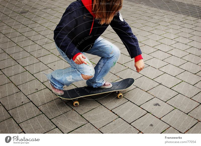 ...Skatermuddi No.1 Stone slab Driving Girl Skateboarding Street Lanes & trails Coil Movement Hollow Paving tiles Action Posture Spirited Exterior shot