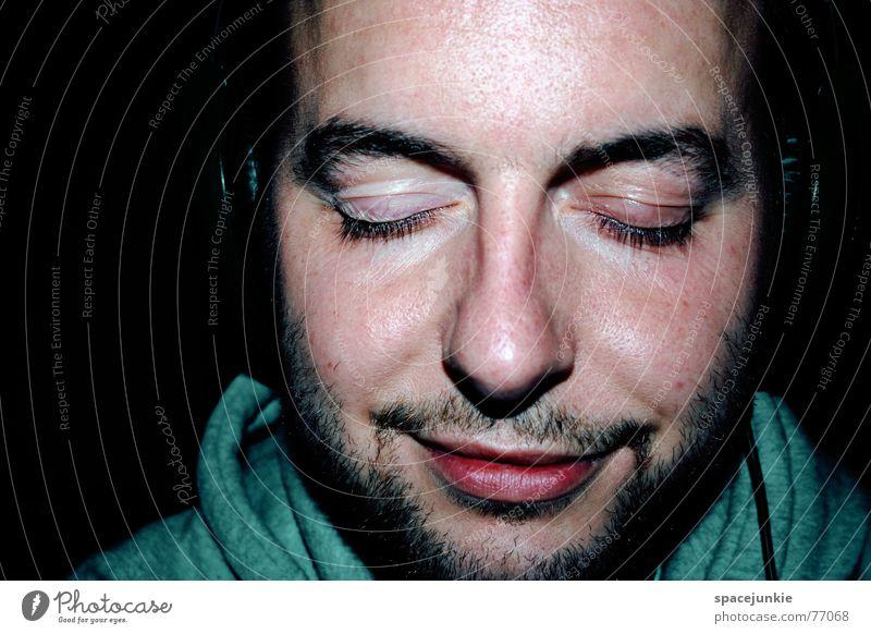 Human being Man Face Black Eyes Closed Listening Facial hair Headphones Sound