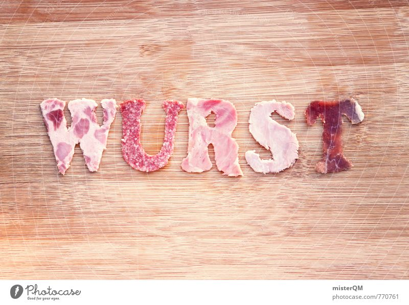 Sausage. Art Work of art Esthetic Innovative Kitsch Sausages production Letters (alphabet) Delicious Food photograph Dish Salami Ham Chopping board Brunch