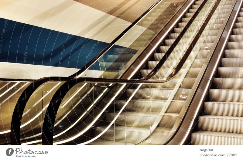 ascent Go up Escalator Story Driving Rubber Wall (building) Stripe Yellow Reflection Light Stairs Above glass Metal Blue DRI cut reflections