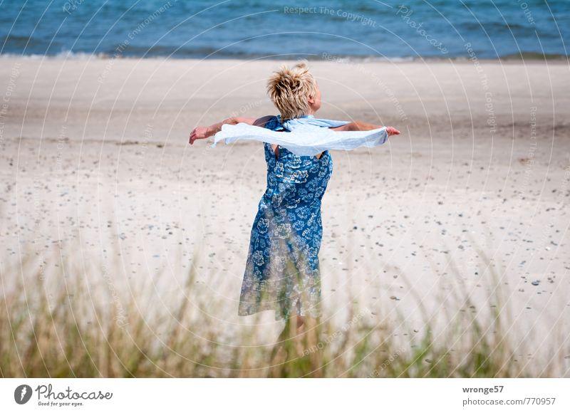 Human being Woman Blue Beautiful Water Summer Joy Beach Adults Life Movement Feminine Fashion Waves Modern Blonde