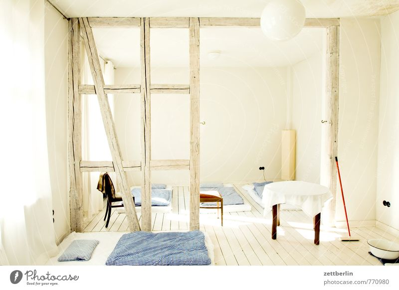 dorm Apartment Building Living or residing Half-timbered facade Half-timbered house Joist Roof beams Sleep Bedroom eyes Bedclothes Group Society Hostel