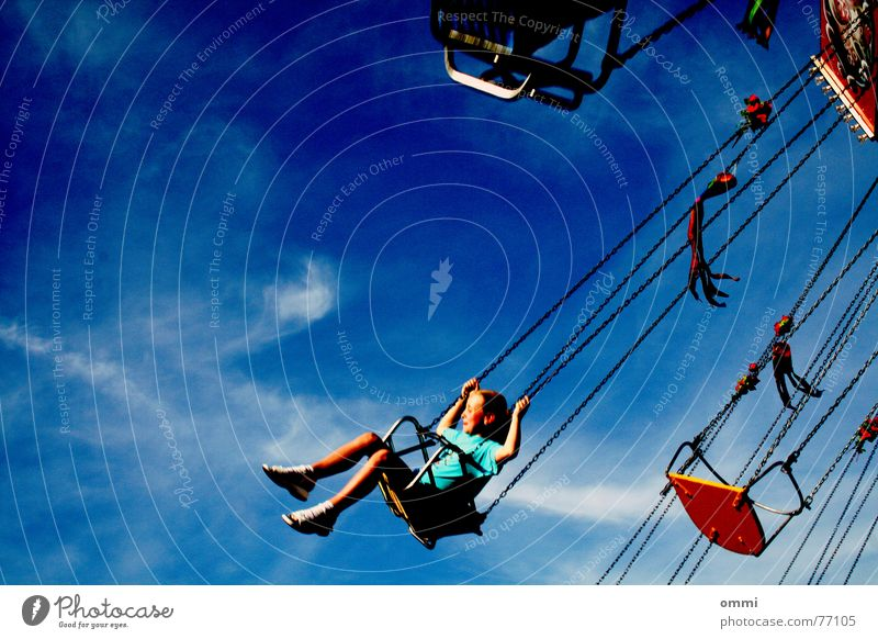 Child Sky Girl Joy Clouds Movement Funny Leisure and hobbies Flying Speed Happiness Beautiful weather Rotate Fairs & Carnivals Loud Carousel