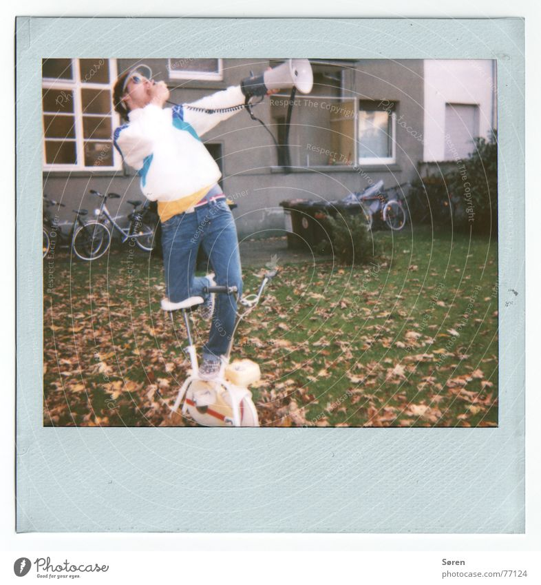 To talk Movement Bicycle Stand Information Fitness Scream Polaroid Backyard Megaphone Protest Old-school Antisocial Antisocial person