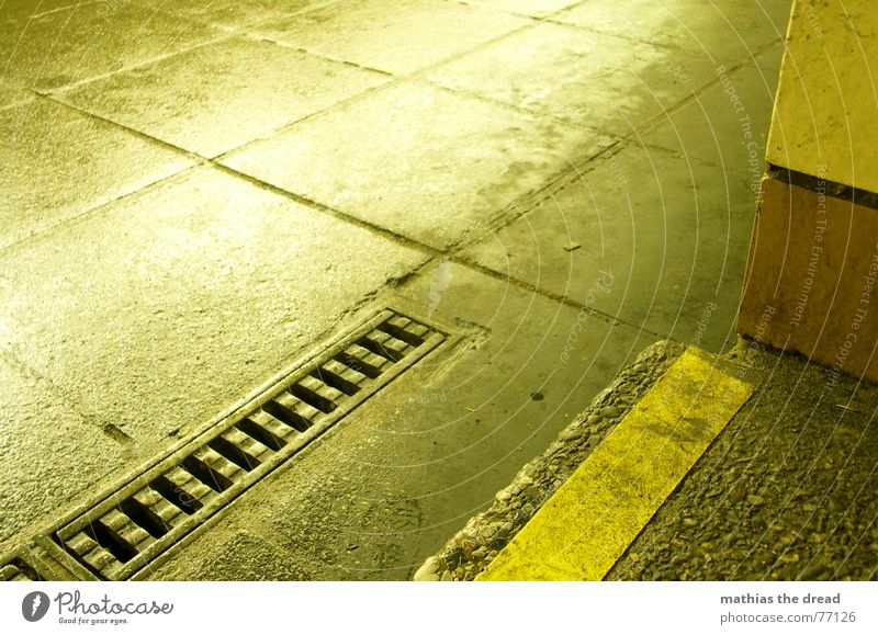 Loneliness Yellow Stone Rain Dirty Wet Concrete Perspective Stairs Corner Floor covering Sidewalk Iron Drainage Prefab construction