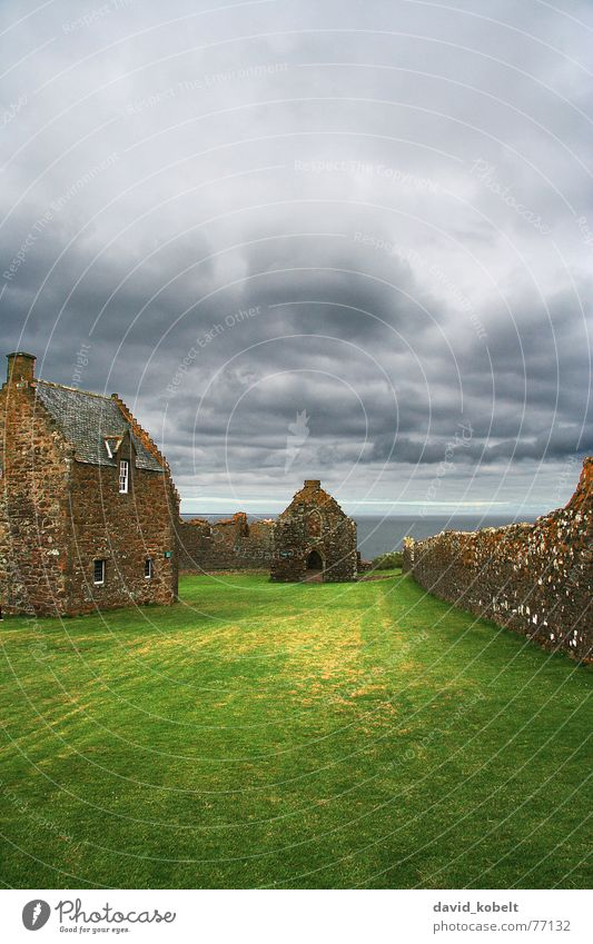 Sky Ocean House (Residential Structure) Clouds Meadow Stone Wall (barrier) Rain Moody Weather Vantage point Gale Derelict Monument Historic Thunder and lightning