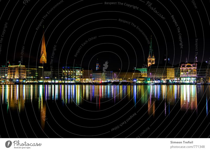 hamburg by night Luxury Elegant Tourism Sightseeing City trip Night life Going out Architecture Culture Port City Downtown Old town Skyline