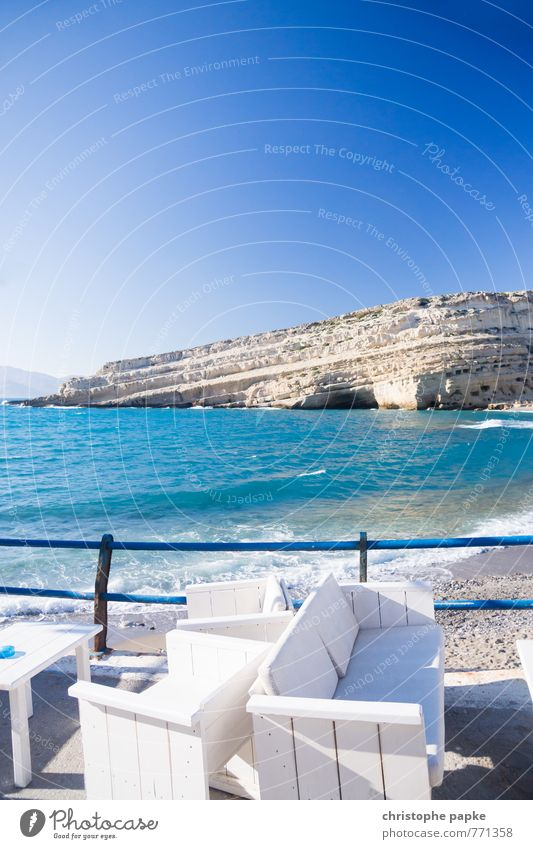 Sea Place Vacation & Travel Tourism Freedom Summer Summer vacation Beach Ocean Landscape Cloudless sky Coast Bay matala Crete Greece Terrace Relaxation Sofa