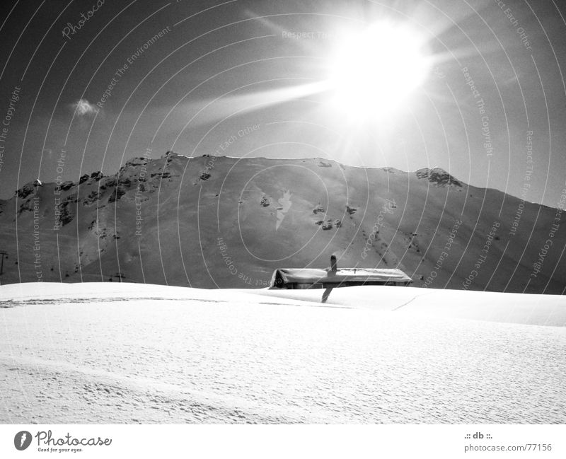 "<FONT COLOR=""#FFFF00"">-==- PROUDLY PRESENTS Vacation & Travel House (Residential Structure) Switzerland Snow Sun Mountain Black & white photo"