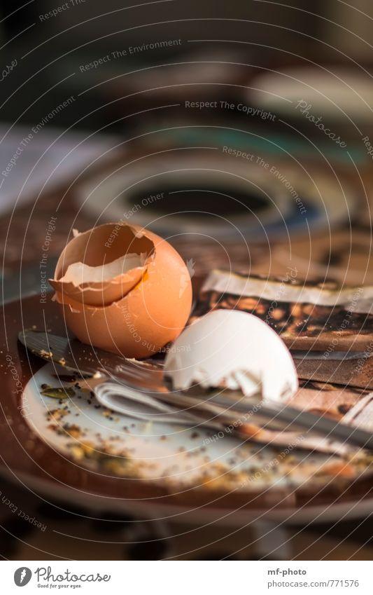 Happy Breakfast Food Egg Nutrition Plate Knives Orange Colour photo Interior shot Deserted Blur