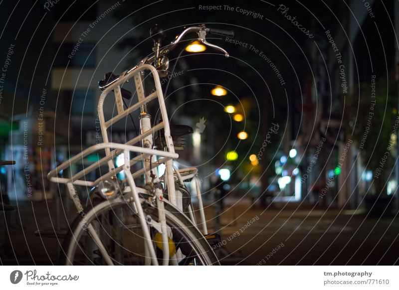 white city load bicycle Bicycle Town Downtown Deserted Means of transport Logistics Multicoloured White Colour photo Exterior shot Close-up Night