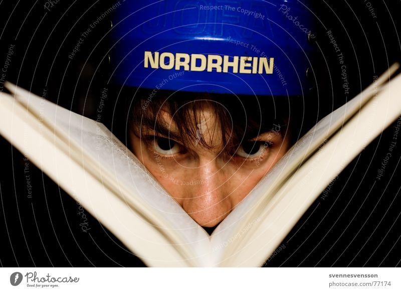 bookworm Helmet Protective headgear Book Hair and hairstyles Face Eyes Nose Colour Human being Side jofa North Rhine-Westphalia ice hockey helmet wayne gretzky