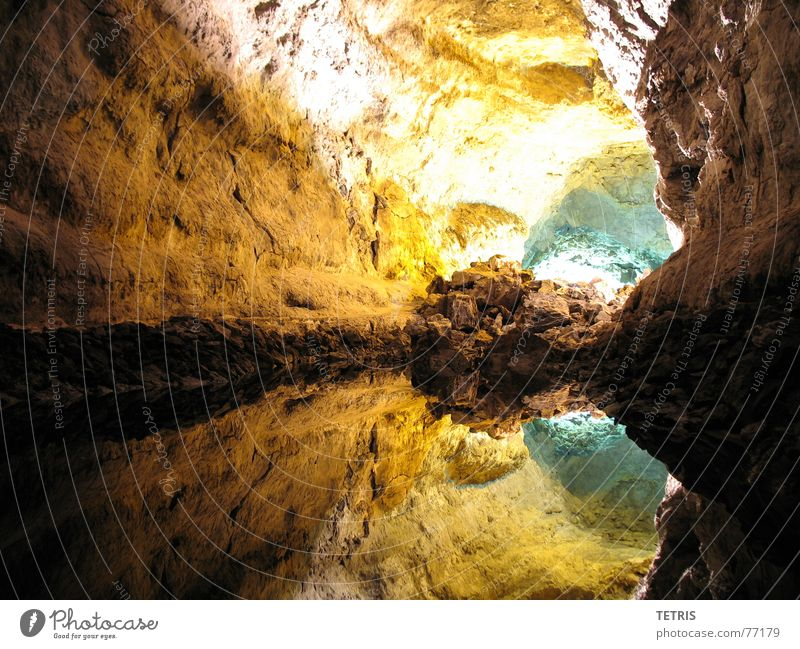 Canyon or lake ? Lava Cave Stalactie cave Lanzarote Vacation & Travel Volcano lawa Canaria holiday vacaution Stone