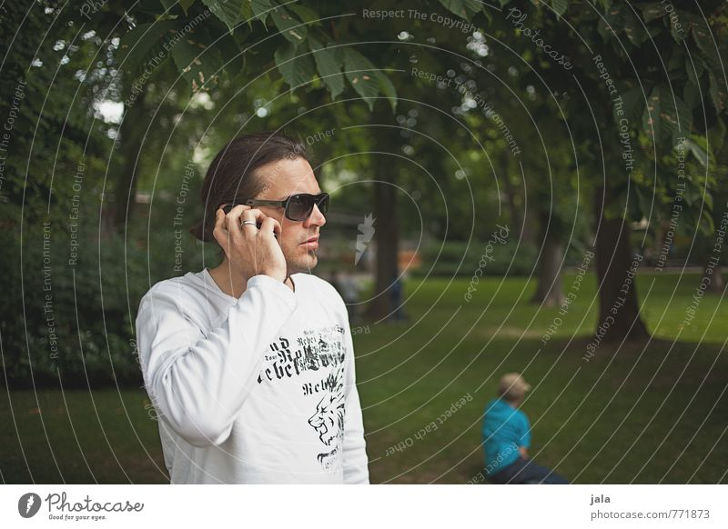 Human being Nature Man Plant Tree Adults Boy (child) Grass Park Masculine Stand Cellphone Brunette Long-haired Father Sunglasses