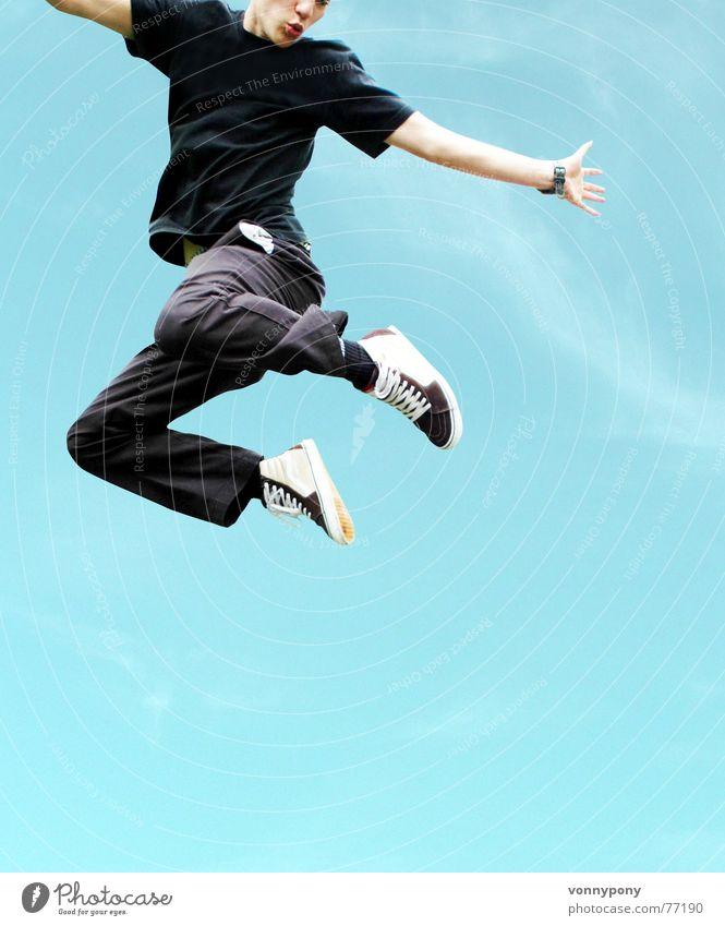 descent Jump Man Hop Sky Joy Blue