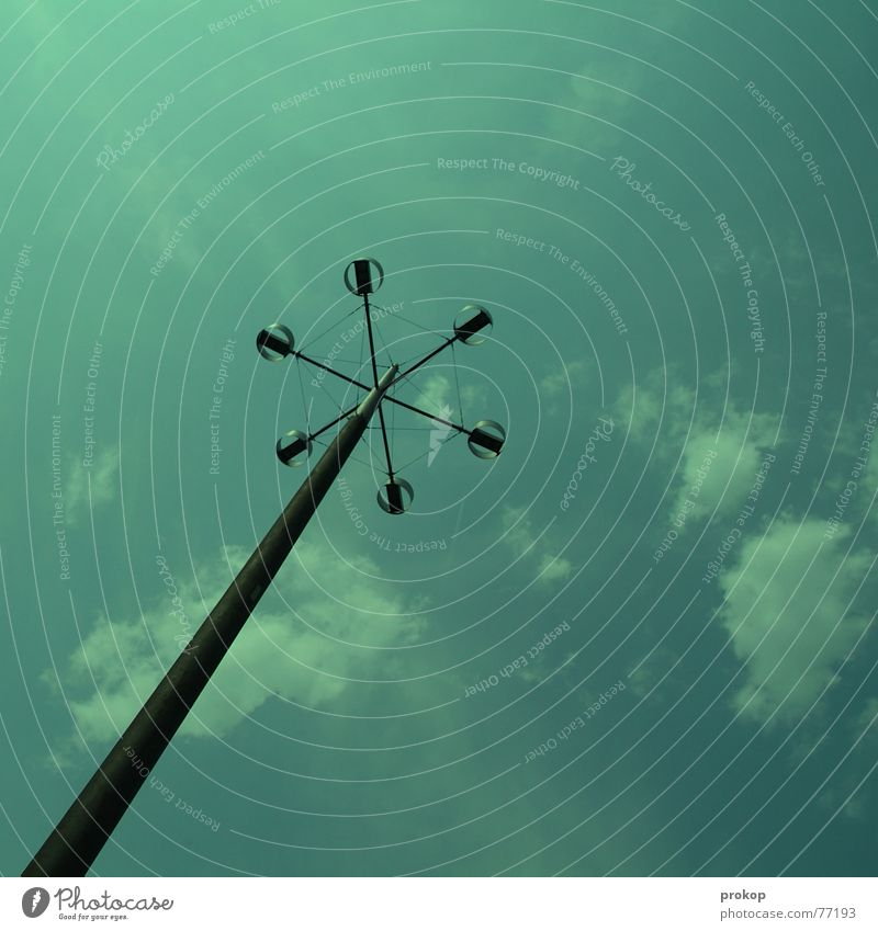 toothpick Clouds Green Loneliness Lamp Rod Steel Sky Blue good weather Electricity pylon Above up up and away on the ground lampost abandoned grounded
