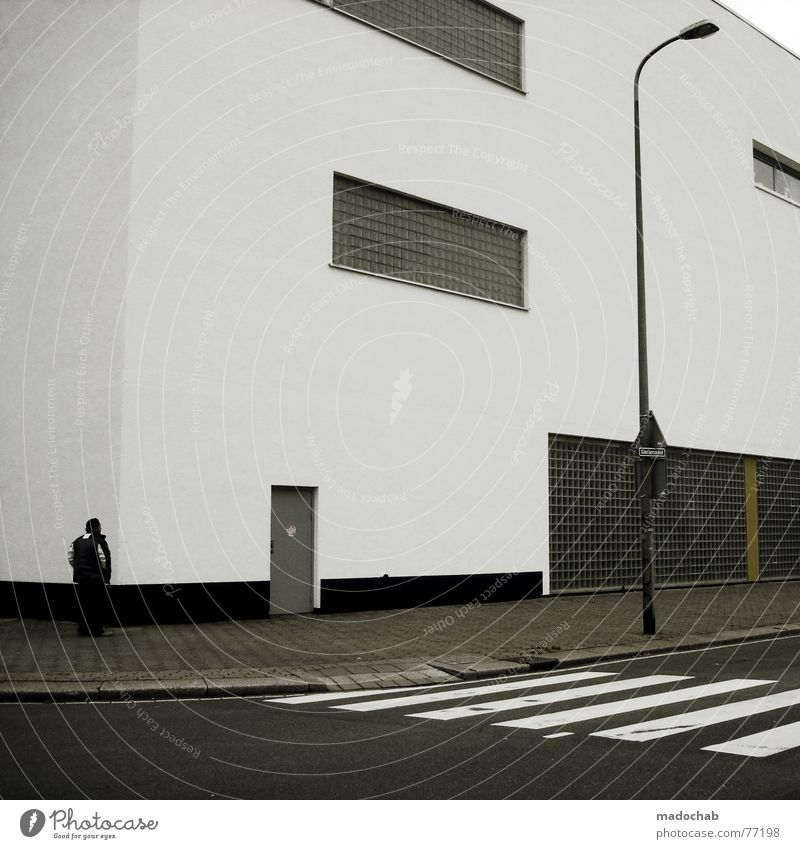 Human being Man Loneliness House (Residential Structure) Street Window Architecture Style Building Lamp Signs and labeling Masculine Empty Search Gloomy Corner