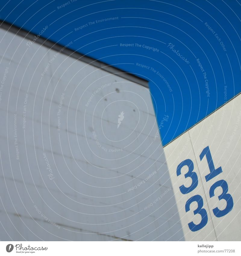 spaceship twentythree Wall (building) House number Digits and numbers Serif NASA Space Shuttle Alexanderplatz 31 33 white wall Blue sky blue number UFO Universe