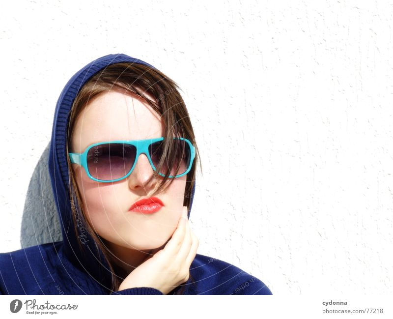 Sunglases everywhere XVI Lips Lipstick Light Style Row Woman Portrait photograph Glittering Cosmetics Sunglasses Gesture Cool (slang) Strand of hair Summer
