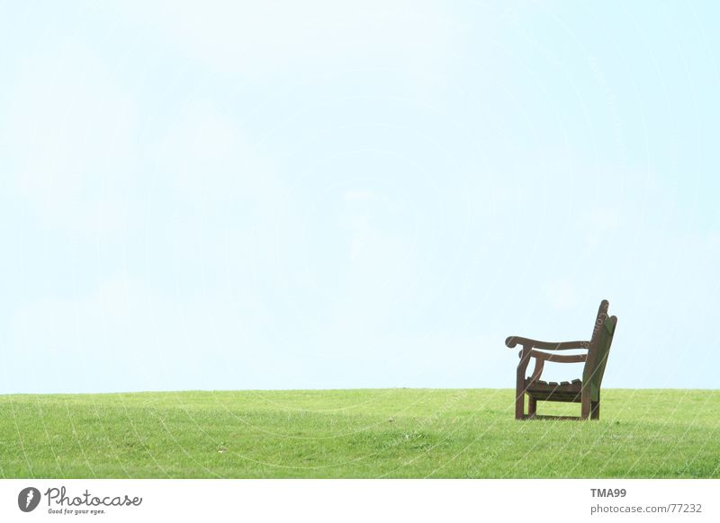 Break in England Wooden bench Calm Green Grass Bench Blue sky Sky Relaxation Peace green grass Lawn green lawn Wait Vantage point