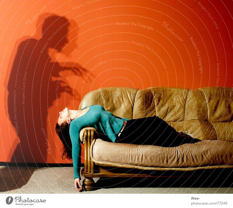 Woman Girl Red Loneliness Dark Wall (building) Death Dream Fear Flat (apartment) Sleep Film industry Sofa Scream Creepy Leather