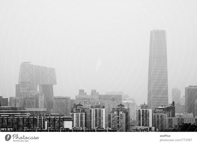 City House (Residential Structure) Environment High-rise Skyline Downtown Capital city Haze China Dreary Environmental pollution Smog Beijing Overpopulated