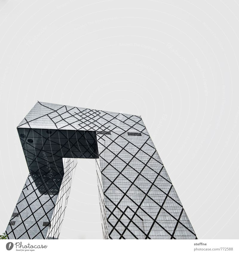 STRUCTURAL CHANGE Beijing China High-rise Facade Town CCTV building Black & white photo Exterior shot Copy Space top