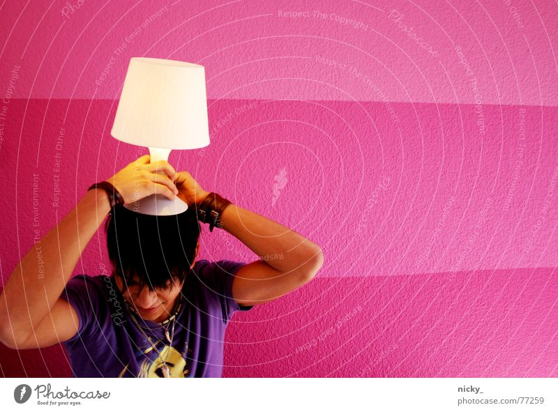 Human being Man White Lamp Wall (building) Hair and hairstyles Head Wall (barrier) Pink Violet Occur