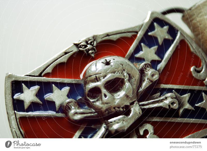 Blue Red Death Art Glittering 3 Wild animal Star (Symbol) Clothing Culture Craft (trade) Silver Ornament Skeleton Belt Punk rock
