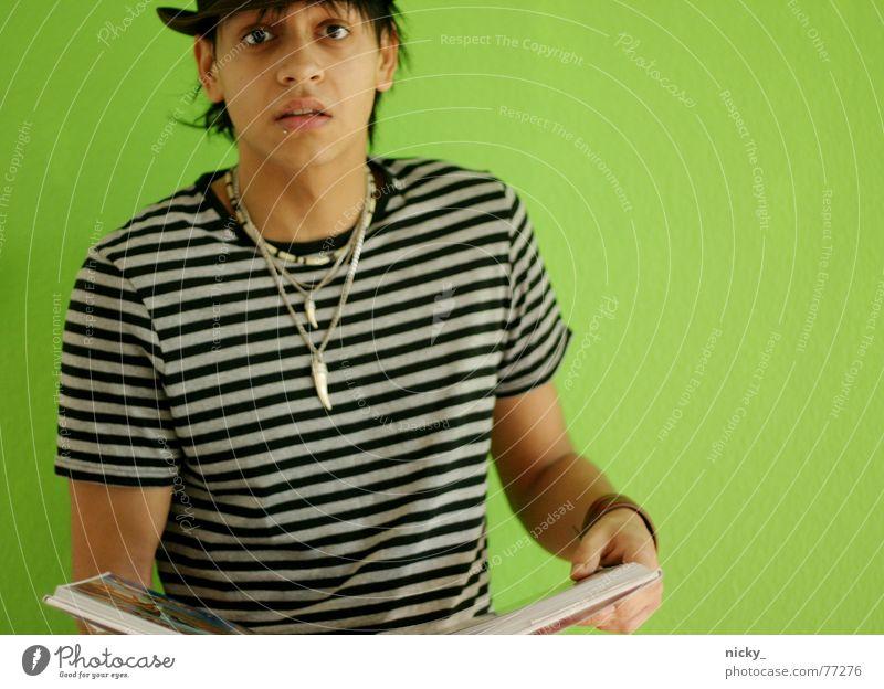 Man Green Hand Face Wall (building) To talk Book Stripe Desire Hat Chain Amazed Photographer Helmut Newton