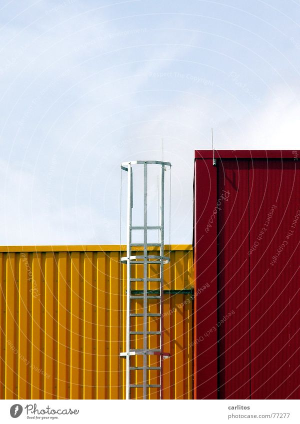 Architecture Tetris Structures and shapes Logistics Delivery Facade Tin Safety Go up Yellow Red tetris Cube Industrial Photography Warehouse Storage Mask Ladder