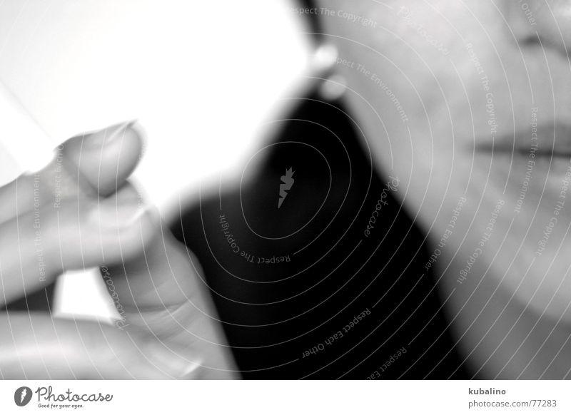 Woman White Black Mouth Fingers Smoke Cigarette Earring