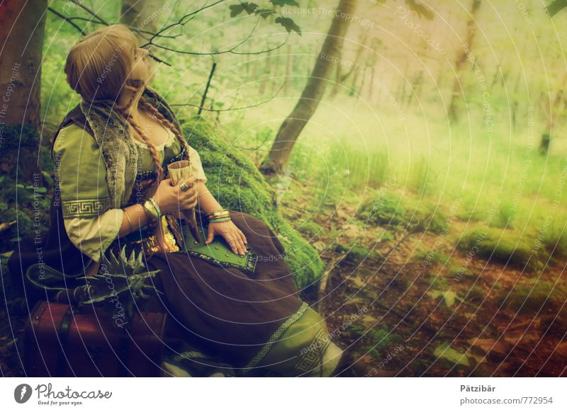 A dwarf by chance Feminine Nature Forest Bog Marsh Cloth Pelt Observe Relaxation Dream Drinking Hiking Natural Brown Green Moody Caution Serene Patient Calm